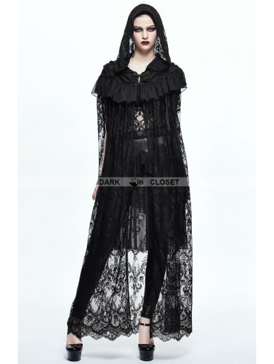 Devil Fashion Black Gothic Lace Long Hooded Cape for Women