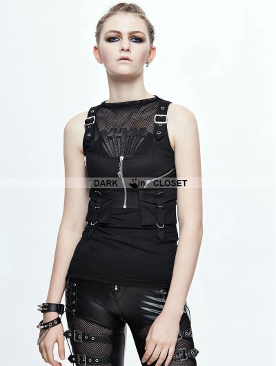 Devil Fashion Black Gothic Pocket Top Vest for Women