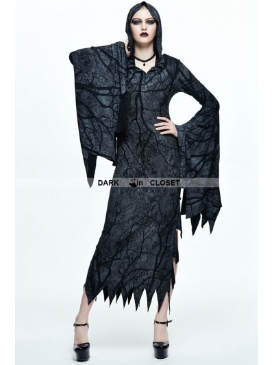 Devil Fashion Gothic Witch Vampire Hooded Long Dress