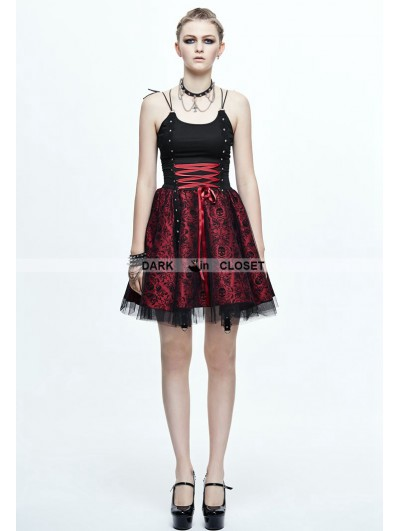 Devil Fashion Spaghetti Straps Gothic Punk Skull Dress