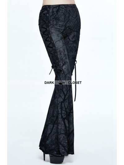 Devil Fashion Gothic Mystery Tree Printing Bell-Bottomed Pants for Women
