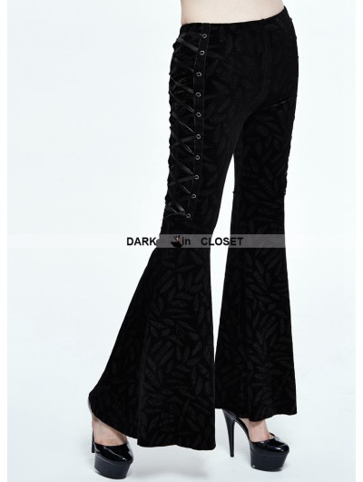 Devil Fashion Black Gothic Feather Pattern Bell-Bottomed Pants for Women