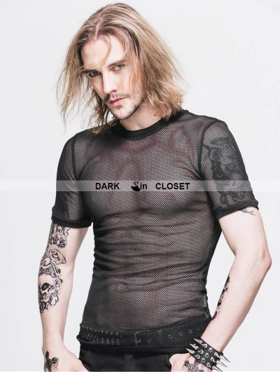 Devil Fashion Black Gothic Net Mens Short Sleeves T-Shirt