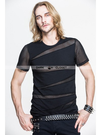 Devil Fashion Black Gothic Net Short Sleeves T-Shirt for Men