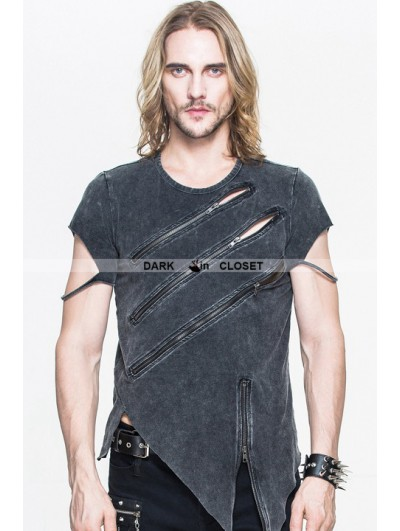 Devil Fashion Black Gothic Zipper Short Sleeves T-Shirt for Men