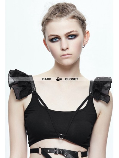 Devil Fashion Black Gothic Short Top for Women