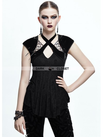 Devil Fashion Black Gothic Skull Cap Sleeves Shirt for Women