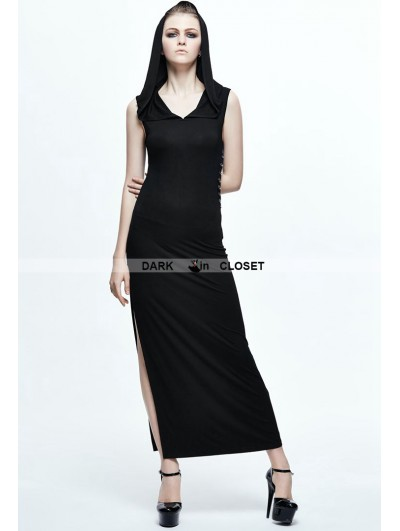 Devil Fashion Black Gothic Sexy Sleeveless Hooded Dress