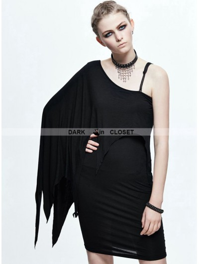 Devil Fashion Black Gothic Elegant One-Shoulder Dress
