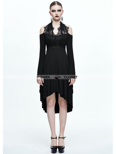 Devil Fashion Black Gothic Elegant Lace High-Low Dress