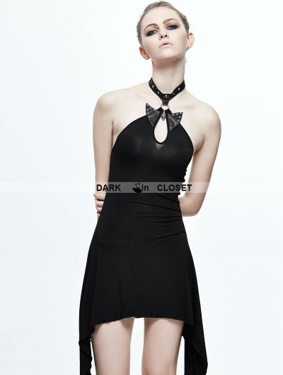 Devil Fashion Black Halter Gothic Butterfly Dress