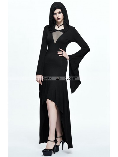 Devil Fashion Black Gothic Witch Hooded High-Low Dress