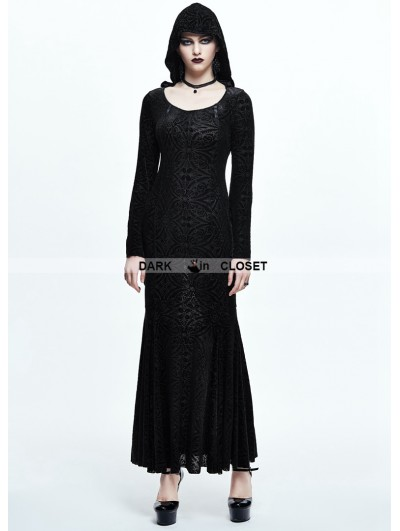 Devil Fashion Black Pattern Gothic Witch Long Hooded Dress