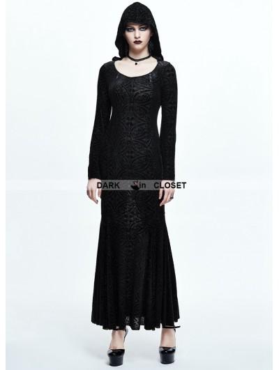 Devil Fashion Black Pattern Gothic Witch Long Hooded Dress