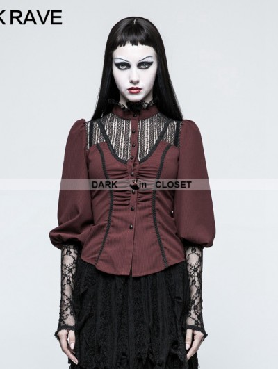 Punk Rave Red Steampunk Long Sleeve Shirt for Women