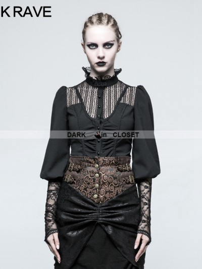 Punk Rave Black Steampunk Long Sleeve Shirt for Women