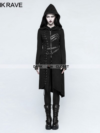 Punk Rave Black Gothic Punk Asymmetric Diagonal Hem Sweater Coat for Women