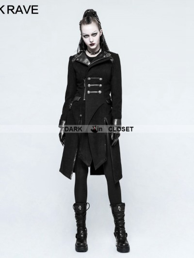 Punk Rave Black Gothic Punk Worsted Long Coat for Women