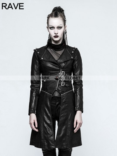 Punk Rave Black Gothic Handsome Punk Long PU Coat for Women