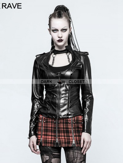 Punk Rave Black Gothic Military Uniform Sexy PU Leather Shirt for Women