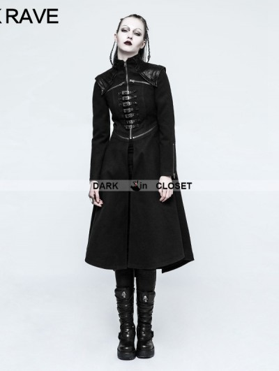 Punk Rave Black Gothic Punk Long Coat for Women