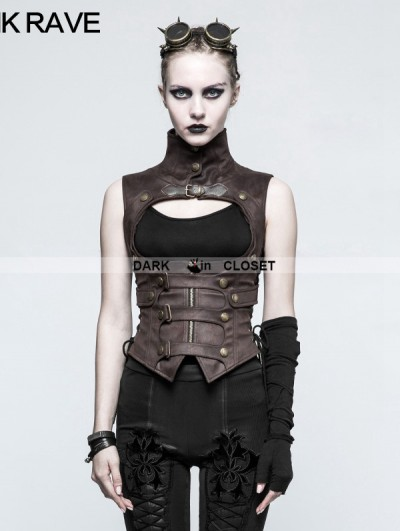 Punk Rave Brown Steampunk Waistcoat for Women