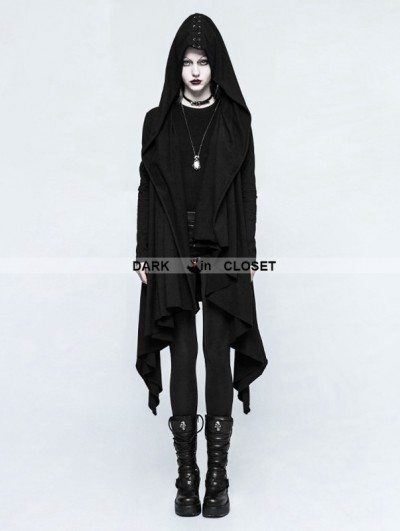 Punk Rave Black Gothic Dark Decadence Knitted Womens Coat with Hood