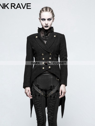 Punk Rave Black Gothic Swallow Tail Worsted Jacket for Women