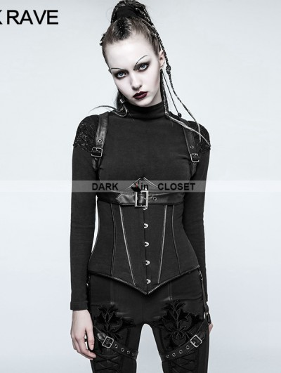 Punk Rave Black Gothic Military Uniform Short Coat for Women