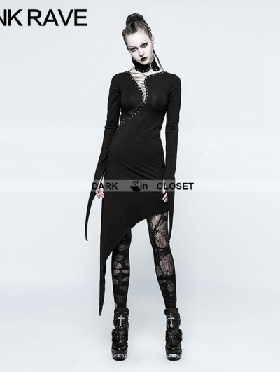 Punk Rave Black Gothic Dark Knitting Cotton Dress