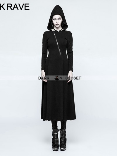 Punk Rave Black Gothic Handsome Hooded Dress