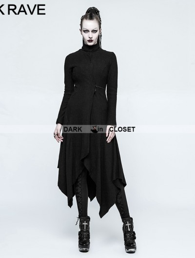 Punk Rave Black Gothic Witch Asymmetry Jacket for Women