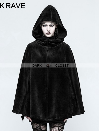 Punk Rave Black Gothic Witch Heavy Cloak for Women