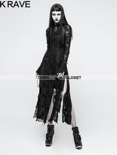 Punk Rave Black Gothic Retro Lace Rope Dress