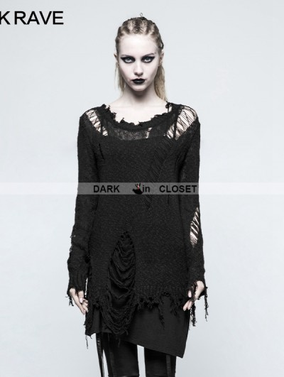 Punk Rave Black Gothic Punk Pullover Sweater for Women