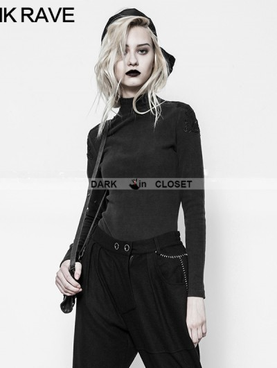 Punk Rave Black Gothic Embroidered Stand Collar Primer Shirt for Women