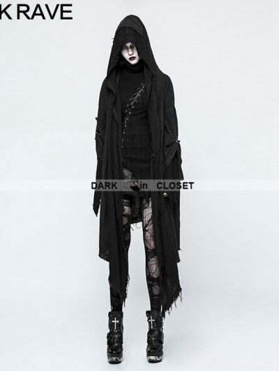 Punk Rave Black Gothic Punk Loose Death Cloak for Women