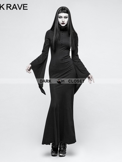Punk Rave Black Gothic Dark Dress with Mask
