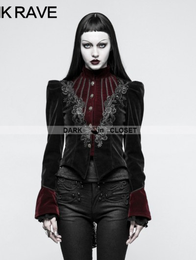 Punk Rave Black and Red Gothic Scissor-tail Jacket for Women