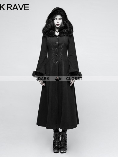 Punk Rave Black Gothic Disc Flowers Long Winter Fur Coat for Women