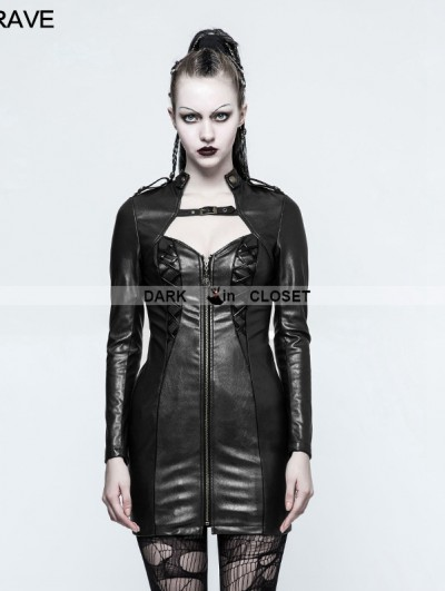 Punk Rave Black Gothic Punk Sexy PU Leather Dress