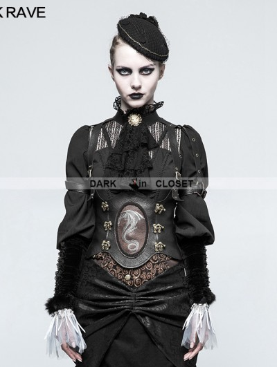 Punk Rave Steampunk Western Dragon Girdle Corset for Women