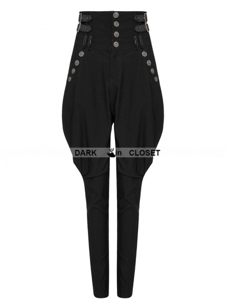 c6c5861f7c ... Punk Rave Black Gothic Military Uniform High Waist Riding Breeches for  Women ...