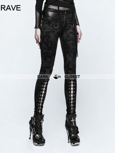 Punk Rave Black Gothic Punk Cloud Patterns Leggings for Women