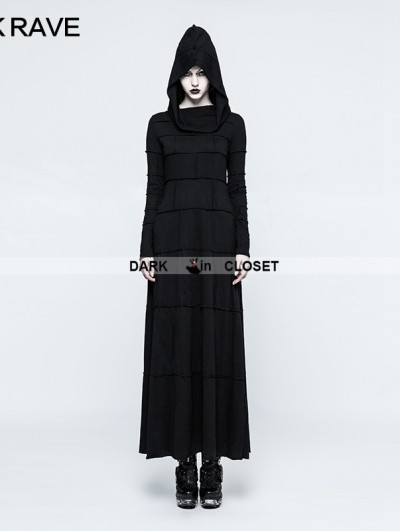 Punk Rave Black Gothic Punk Multi Split Hooded Dress