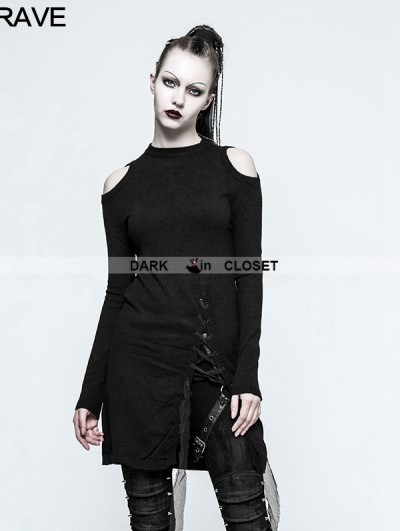 Punk Rave Black Gothic Slit Off-the-Shoulder Sweater for Women