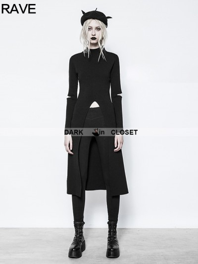 Punk Rave Black Gothic Punk Slit Sweater for Women