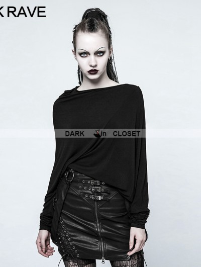 Punk Rave Black Gothic Punk 3D Cutting T-Shirt for Women
