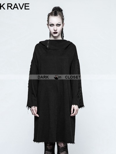 Punk Rave Black Gothic Punk Loose Sleeve Hoodie for Women
