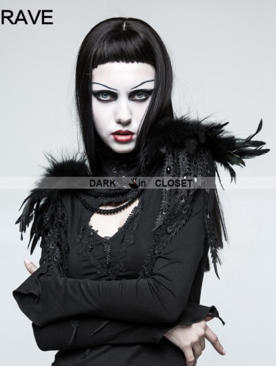 Punk Rave Gothic Feather Leather Shoulder Knot